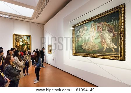Tourists In Botticelli Room Of Uffizi Gallery