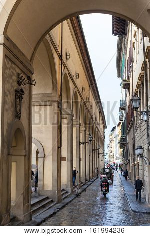 People Near Vasari Corridor In Florence In Rain
