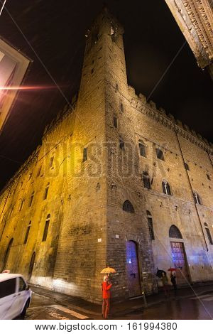 Tower Of Bargello Palace In Rainy Night
