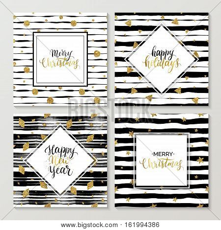 Happy New Year and Merry Christmas card set, happy holidays gold text on striped background with golden glitter star, polka dot, triangle, rhomb, vector xmas lettering for holiday card, poster, banner