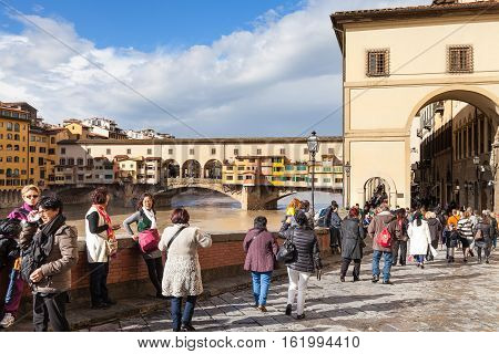 People Near Vasari Corridor And Ponte Vecchio