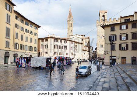 People On Street Market On Piazza San Firenze