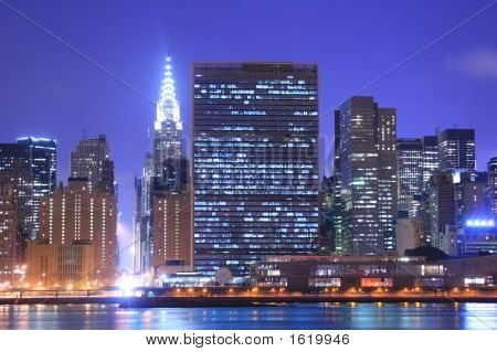 Midtown Manhattan skyline at Night Lights New York City poster