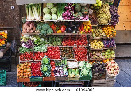 Above View Of Various Fresh Fruits And Vegetables