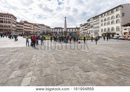 People On Piazza Di Santa Maria Novella In Florence