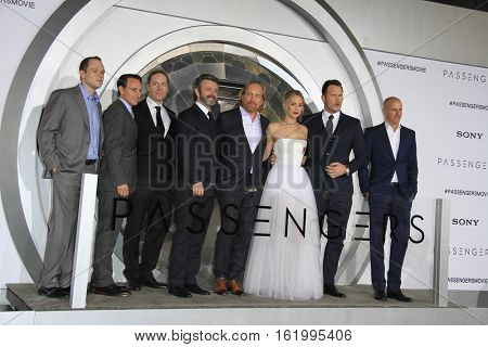 LOS ANGELES - DEC 14:  Executives, Michael Sheen, Morten Tyldum, Jennifer Lawrence, Chris Pratt, Executive at the