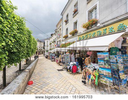 Amboise,France-June 2016: street souvenir store of Amboise town
