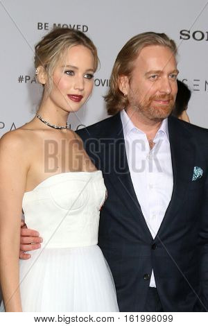 LOS ANGELES - DEC 14:  Jennifer Lawrence, Morten Tyldum at the