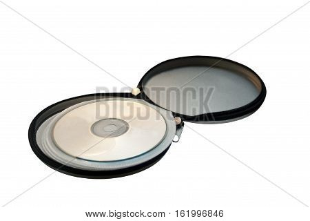 Open metal pocket for storing CD discs isolated on white background