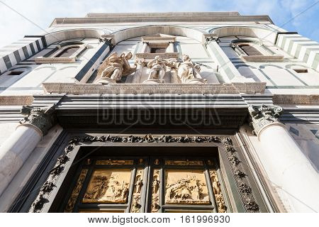 Facade Of Baptistery With East Doors In Florence