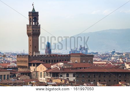Above View Of Palazzo Vecchio In Florence Town