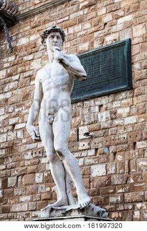 Statue David On Piazza Della Signoria In Florence