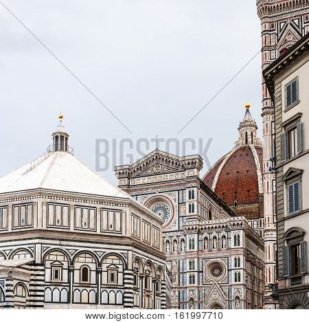 Domes Of Florence Baptistery And Duomo Cathedral