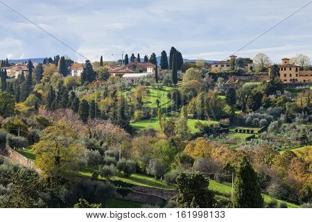 Above View Of Green Gardens In Suburb Of Florence