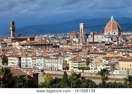 Skyline Of Florence City With Duomo And Palazzo