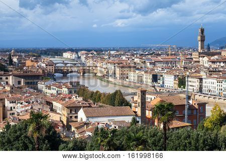 Cityscape Florence With Bridge And Palace