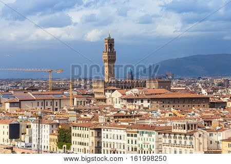 Cityscape Of Florence City With Palazzo Vecchio