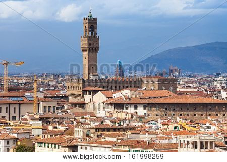 Cityscape Of Florence Town With Palazzo Vecchio