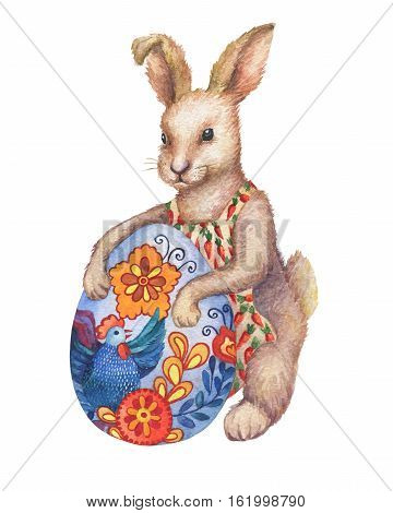 Cute brown Easter bunny rabbit cartoon character with Easter colored egg.