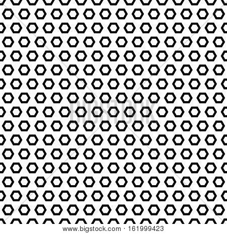 Vector monochrome seamless pattern, simple geometric texture with hexagonal shapes, black & white. Repeat abstract background. Editable design element for identity, prints, digital, wrapping, textile