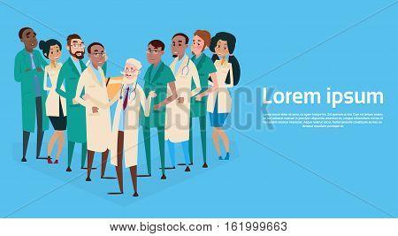 Group Medial Doctors Team Clinic Banner Flat Vector Illustration