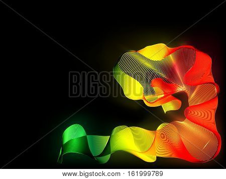 The glowing abstraction of a wavy colored lines on black. Color wavy abstract bright background for design. Black release.