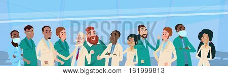 Group Medial Doctors Team Clinic Banner Flat Vector Illustration