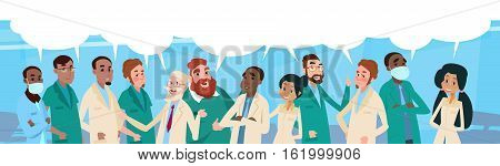 Group Medial Doctors Team Hospital Stuff With Chat Box Vector Illustration