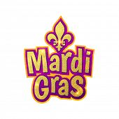 Mardi Gras gold glitter text with sparkles. Fleur-de-Lis lily symbol for masquerade carnival. American New Orleans Fat Tuesday celebration poster greeting card. Australian Mardi Gras parade poster