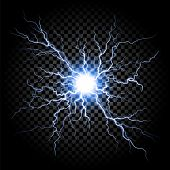 Lightning flash light thunder spark on transparent background. Vector ball lightning or electricity blast storm or thunderbolt in sky. Natural phenomenon of human nerve or neural cells system poster