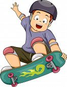 Illustration of a Little Boy Wearing Protective Gear While Performing Skateboarding Stunts poster