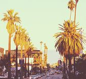 famous Hollywood boulevard at sunset in California poster