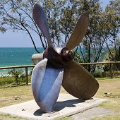 Propeller made of solid stainless steel of the Cherry Venture ship which ran aground in 1978 at Teewah Beach in Queensland. poster