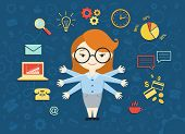 Vector illustration of young business woman personal assistant or hard working secretary. Busy secretary managing her work with a smile. Business idea concept with icons of office work and ecommerce poster