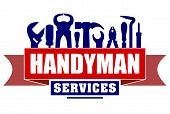 Handyman services vector design for your logo or emblem with red banner and set of workers tools. There are wrench screwdriver hammer pliers soldering iron scrap. poster