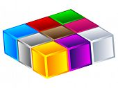 (raster image of vector) Colorful boxes poster