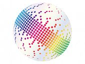(raster image of vector) pixels on ball poster