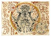 Mystic illustration with evil demon and black magic symbols on old manuscript. Occult and esoteric illustrations. There is no foreign text in the image, all symbols are imaginary and fantasy ones poster