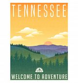 Tennessee, United States travel poster or luggage sticker. Scenic illustration of the Great Smoky Mountains with pine trees and sunrise.  poster