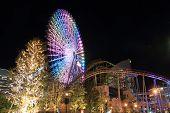 Yokohama cosmo world in Kanagawa Japan (night scene) poster
