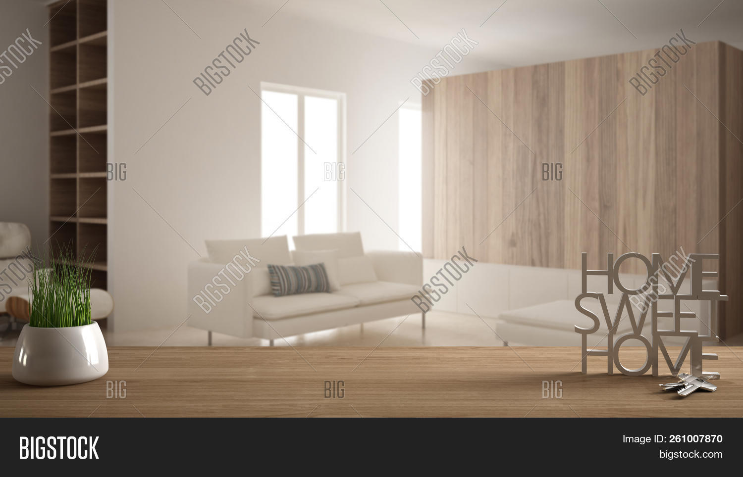 Wooden Table, Desk Or Shelf With Potted Grass Plant, House Keys And 3d Letters Home Sweet Home, Over