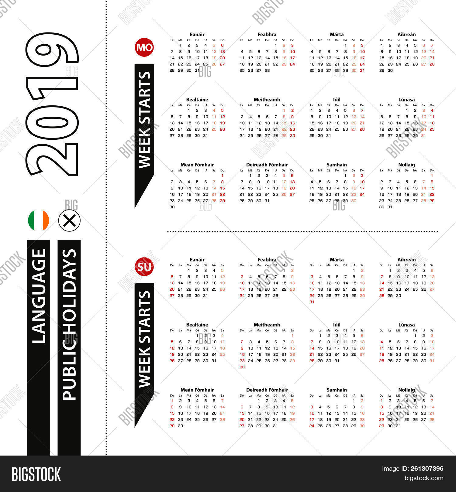 two versions of 2019 calendar in irish week starts from monday and week starts from