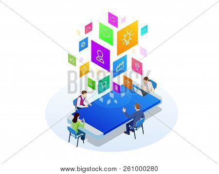 Isometric Digital Marketing Strategy Concept. Online Business, Internet Marketing Idea, Office And F