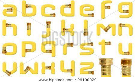 Sarı yüksek çözünürlüklü fotoğrafı ile oluşturulan tüm küçük harf alfabe sarı bahçe hortumu duvar sp