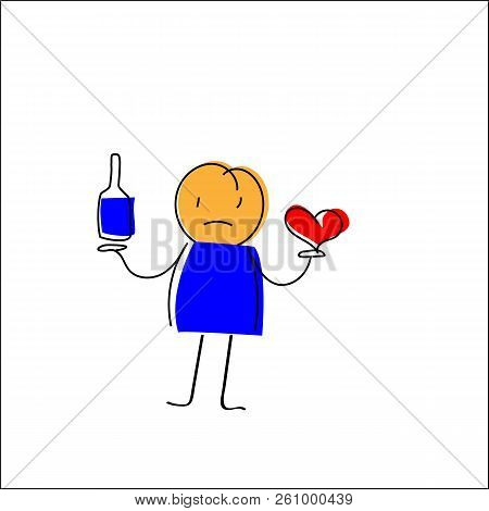 Cheerful Hand-drawn Man Holding A Bottle In One Hand, In The Second Hand The Heart
