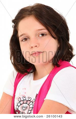 Beautiful 12 year old american girl close-up with ocular prosthesis over white background.