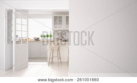 Scandinavian Kitchen On A Foreground Wall, Interior Design Architecture Concept With Copy Space, Bla