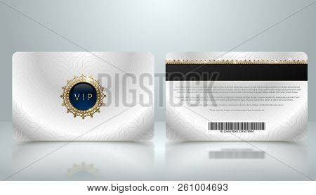 Vector Template Of Membership Or Loyalty Silver Metallic Vip Card With Luxury Geometric Pattern. Fro