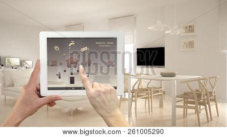 Smart Remote Home Control System On A Digital Tablet. Device With App Icons. Minimalist Modern Brigh