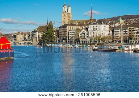 Zurich, Switzerland - November 25, 2013: The Limmat River, Buildings Of The Historic Part Of The Cit
